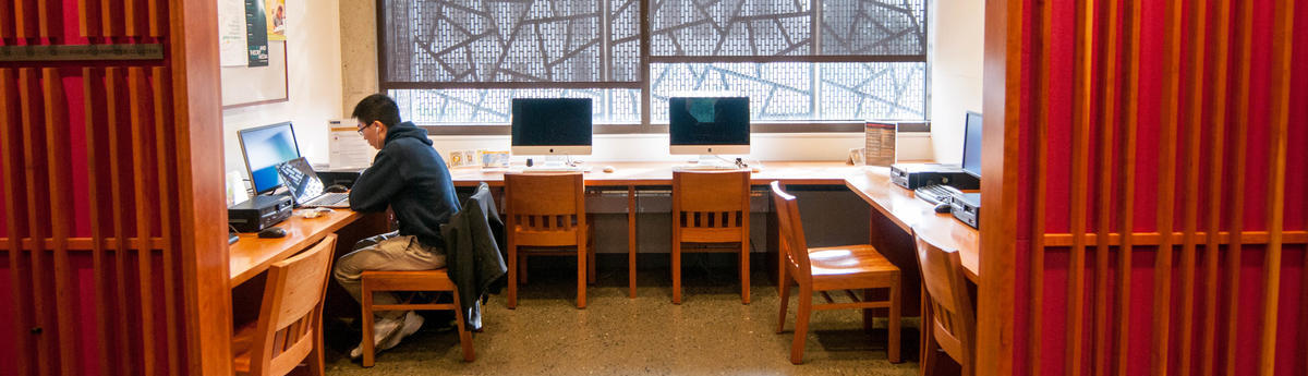 Student conducting research at computer in East Asian Library