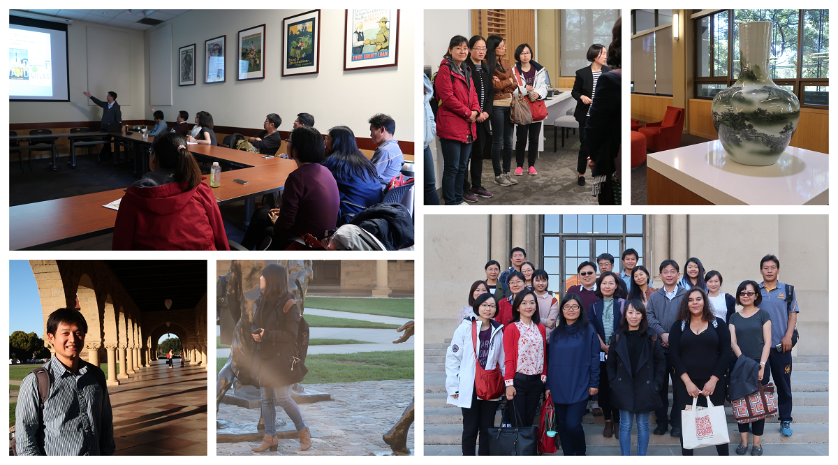 a collage of the IEAS visting scholars on a academic outing to the Stanford East Asian Library and Hoover Institute